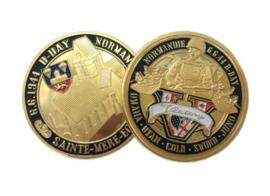 D Day 6.6.1944 Normandië Sainte-Mere-Eglise commemorative coin herinneringsmunt - diameter 4 cm - origineel