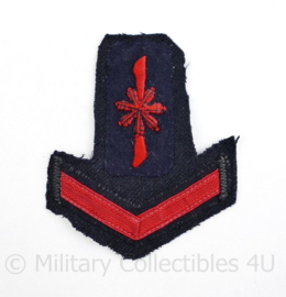 Koninklijke Marine rang met eenheid insigne op stuk uniform - 9,5 x 10 cm - origineel