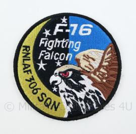 KLU Luchtmacht F16 F-16 Fighting Falcon RNLAF 306 SQN embleem - met klittenband - diameter 9 cm
