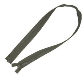 Groene militaire rits leger rits - (aan 2 zijden te openen) 100 cm. groen