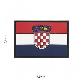 Uniform landsvlag Kroatie embleem 3D PVC vlag -  klittenband - 7,9 x 5,4  cm