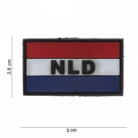 "Uniform landsvlag  met klittenband Nederland embleem PVC ""NLD"" - 5 x 2,8 cm"