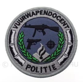 """Nederlandse Politie  """"vuurwapen docent"""" embleem -  met klittenband - diameter 9 cm"""
