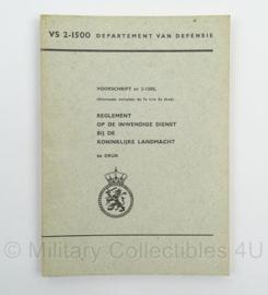 Voorschrift Reglement op de Inwendige Dienst bij de Koninklijke Landmacht nr. VS 2-1500 - jaren 60/70 - afmeting 15 x 21 cm - origineel
