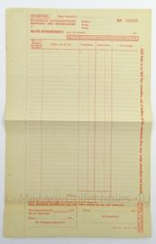 WO2 Duitse blanco Blok-afrekening formulier van de NSB - afmeting 34 x 22 cm - origineel
