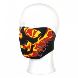Biker mask half face neopreen - yellow & red flames