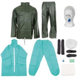 Dräger Piccola FFP3 V NBC beschermende kleding en regenkleding set 8-delig - met Corona mondkapje - ongebruikt - maat Large - origineel