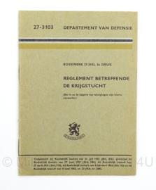 Handleiding Reglement Betreffende de Krijgstucht 3e druk 27-3103 - afmeting 10 x 15 cm - origineel