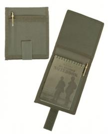 Etui voor A6 notitieblok groen (zonder notitieblok) - 16 x 14 cm.