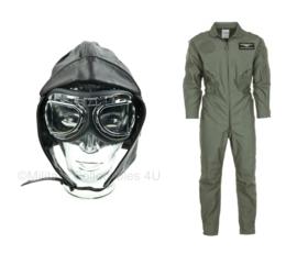 Piloten piloot SET overall, muts en bril 3-delig - meerdere maten - leuk voor Carnaval!