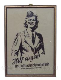 """WO2 Duitse 1943 luftnachrichtendienst pamflet in lijst """"Hilf Siegen als Luchtnachrichtenhelferin""""- 22,5 x 31 cm - origineel"""