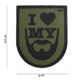 Embleem 3D PVC PVC - met klittenband - I Love My Beard Groen - 9,9 x 8  cm