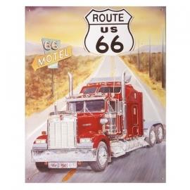 Metalen plaat groot  Route 66 US vrachtwagen