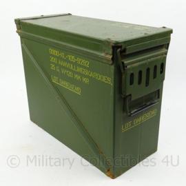 KL Nederlandse leger kist voor artillerie ladingen Kardoezenkist - lijkt op 35mm kist - 47 x 21 x 36,5 cm - origineel