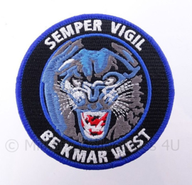 """KMAR BE West,  Koninklijke Marechaussee Bijstandseenheid embleem """"semper vigil""""  - met klittenband -  diameter 9 cm"""