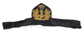 Koninklijke  Marine  Offciers platte pet insigne met band - klein gaatje - 28 x 8 cm - origineel