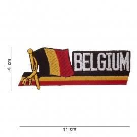 """Uniform landsvlag Belgie wapperende vlag voor uniform - met tekst """"Belgium"""" - 11 x 4 cm."""