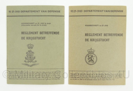 KL Landmacht Reglement boekjes - VS 27/3103 - Reglement betreffende de Krijgstucht - afmeting 10 x 14 cm - origineel