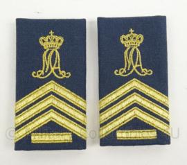 KLu Luchtmacht GLT epauletten rang Sergeant 1 Militaire Academie - per paar - afmeting 5 x 9,5 cm -  origineel
