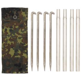Bundeswehr  tentstokken met haringen en tas - flecktarn - origineel