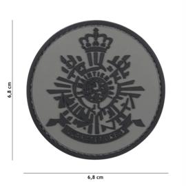 Embleem 3D PVC met klittenband - Korps Mariniers Grey -  6,8 cm. diameter