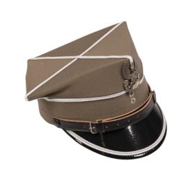 Poolse leger platte pet officier Tschapka met insigne - khaki met witte bies - maat 55 of 57 - origineel
