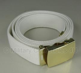 Broekriem wit webbing met gouden metalen slot 150 cm - NIEUW in verpakking - origineel Nederlandse Marine