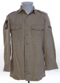 """KM Koninklijke Marine, Korps Mariniers dik khaki overhemd LANGE MOUW - rang """"marinier der 1ste klasse"""" - maat 37 uit 1973 - origineel"""
