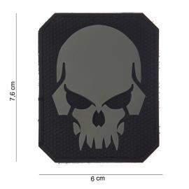 Embleem Pirate Skull - Klittenband - 3D PVC - 7,6 x 6 cm.