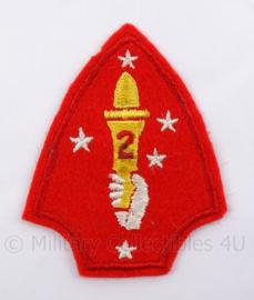 USMC Marines WO2 embleem USMC 2nd marine division - 7 x 9 cm - origineel