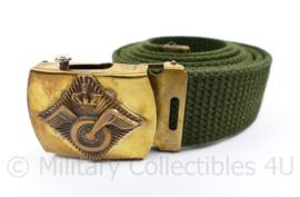 Nederlands leger Aan en Afvoertroepen groene broekriem met logo op slot - 115 cm - origineel