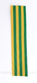 Defensie medaille lint voor metalen kruis voor vrijwilligers  - 12 cm -  geel/groen - origineel