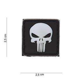 Embleem 3D PVC met klittenband - Punisher - wit - 2,5 x 2,5 cm.