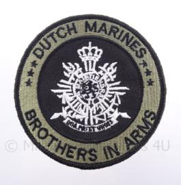 "KM Koninklijke Marine, Korps Mariniers embleem ""Dutch Marines Brothers in Arms"" - met klittenband - diameter 9 cm"