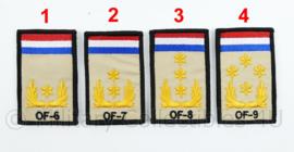 KL Nederlandse leger rangembleem met klittenband - met NLD vlag en NATO rang - generaals - 5 x 8 cm