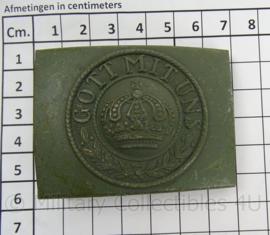 """Koppelslot Feldgrau metaal Preussen Kroon  met tekst """"Gott mit Uns"""" - verouderde replica"""
