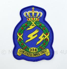 KLU Luchtmacht RNLAF 328 Squadron embleem - concordia omnia vincit - 13 x 9 cm - NIEUW - origineel