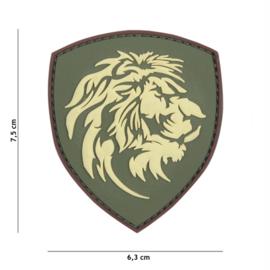 Embleem 3D PVC met klittenband - Nederlandse Leeuw - groen - 7,5 x 6,3 cm.
