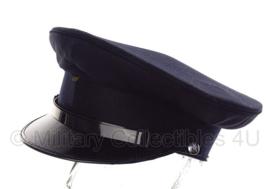 Politie platte pet - zonder insigne  -  Glad wol Donkerblauw, rode voering - maat 56 tm. 59 - origineel