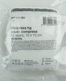 Nederlands Leger Klinipress hg gauze compress 12 layers kompres gaas 12 lagen 10x10cm per 10 stuks - t.h.t. 30 sept -2022 - origineel