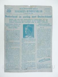 Algemeen handelsblad inval door Duitsland in 1940 nagedrukt op metalen plaat -57,5 x 41 cm - origineel