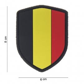 Uniform landsvlag Belgie Embleem 3D PVC schild - klittenband - 8 x 6 cm