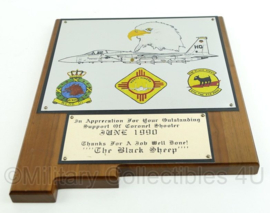 US Air Force USAF en KLU Luchtmacht wandbord - Operatie The Coronet shooter june 1990 - afmeting 31 x 25,5 x 2 cm - origineel