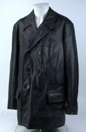 KLU luchtmacht bewaking jas (1988) - dik leder - zwart - maat 54 - gebruikt - origineel
