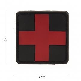 Embleem Red Cross - Rood met zwarte achtergrond -  Klittenband - 3D PVC - 5x  5 cm.