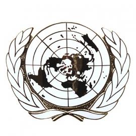 UN VN Verenigde Naties metalen insigne - 4,6 x 5,7 cm.