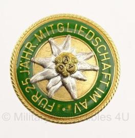 Pin Mitgliedschaft met Edelweiss fur 25 Jahre Mitgliedschaft  - 3,5 x 3,5 cm- origineel