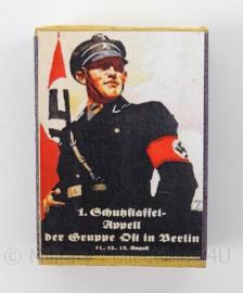 WO2 Duits luciferdoosje van echt hout - Algemeine SS - afmeting 6 x 4 cm - replica