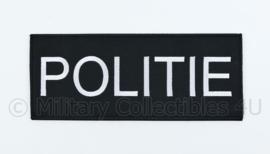 Politie rugstrook embleem zwart - met klittenband - 25 x 10 cm