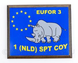 Defensie EUFOR 3 1NLD SPT COY wandbord- 20,5 x 17,5 x 1,5 cm - origineel
